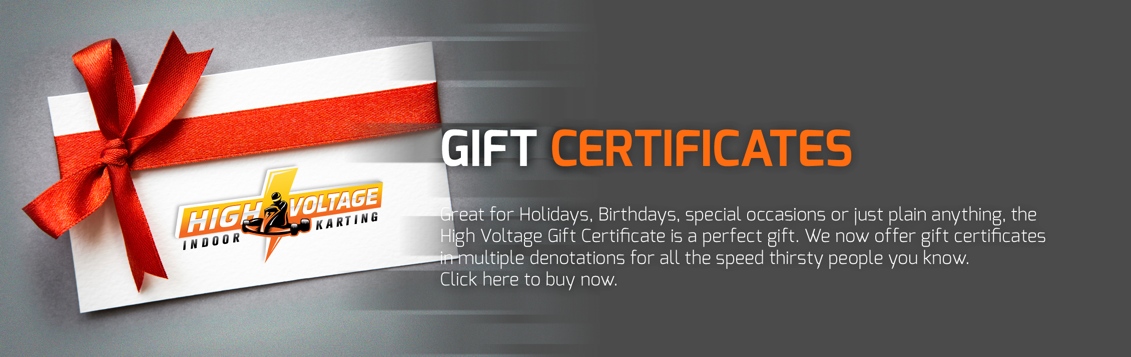 Buy Gift Certificates for High Voltage Indoor Karting