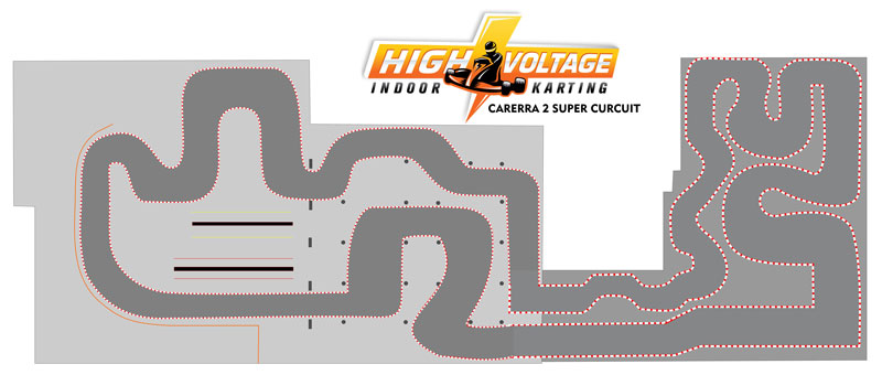 High Voltage Indoor Karting extension track map